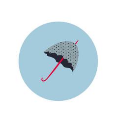 Grey umbrella circle icon sticker vector