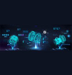 Head up display with holograms 3d models parts vector