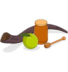 Honey Jar Apple And Shofar For Yom Kippur vector image