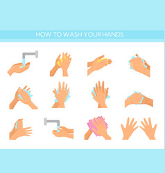 Instruction how to wash hands vector