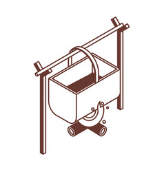 Isometric camping pot icon in line art vector