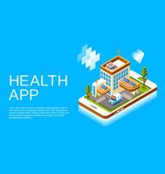 Isometric online medicine health app vector