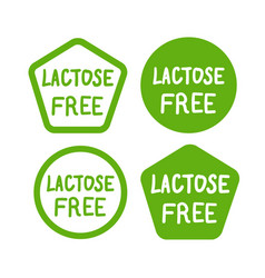 lactose free logos stickers icons set vector image