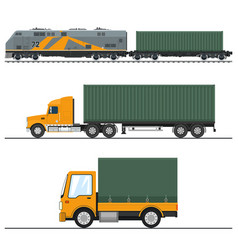 land freight trucking and railway services vector image