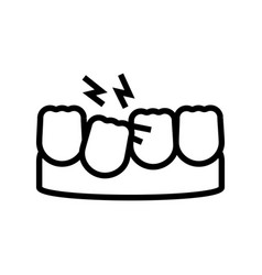 Loose tooth line icon vector