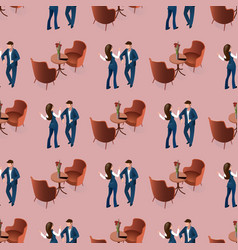 love couple dating at restaurant seamless pattern vector image