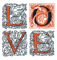 love lettering ornate letters in vintage style vector image