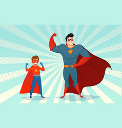 Man and boy superheroes retro vector