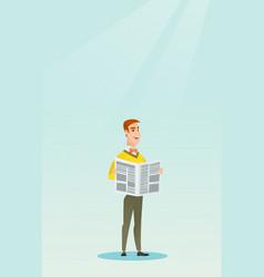 Man reading a newspaper vector