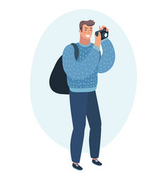 Man taking photo with digital camera side view vector