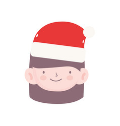 merry christmas little girl with hat santa vector image