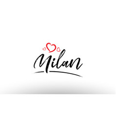 Milan europe european city name love heart vector