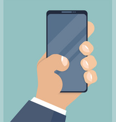mobile phone holding in businessman hands vector image