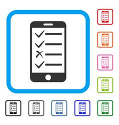 Mobile todo list framed icon vector
