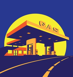 modern petrol station at night vector image