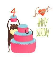 Monkey Cake Four Years Old with Happy Birthday vector image