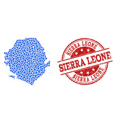 Mosaic map of sierra leone with linked circles and vector