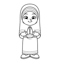 Moslem girl greeting salaam ramadan bw vector