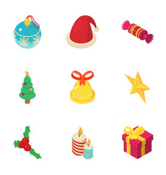Noel icons set isometric style vector