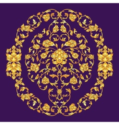 Ornate elemen in eastern style on deep violet vector