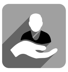 Patient Assistance Flat Square Icon with Long vector image
