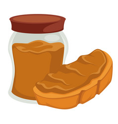Peanut butter in jar and on bread isolated nut vector