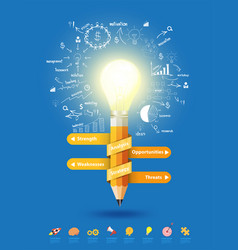 Pencil light bulb as creative concept vector
