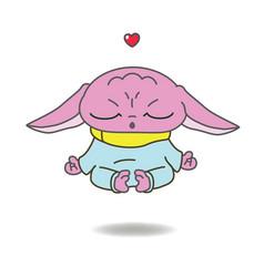 pink alien in meditation pose vector image