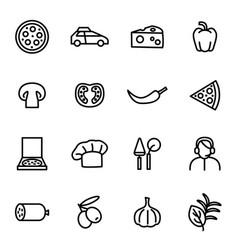 pizzeria sign black thin line icon set vector image