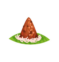 Pyramid-shaped cake traditional indonesian vector