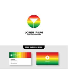 Rainbow cocktail bar logo and business card vector