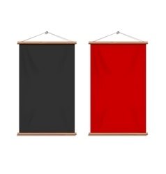 Realistic black and red textile banners vector