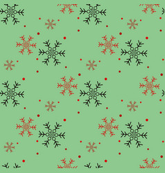 red and black snowflake seamless pattern snow on vector image