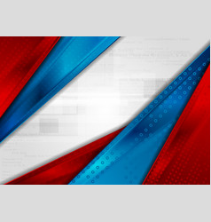 red and blue stripes abstract tech background vector image