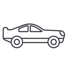 retro racing car line icon sig vector image