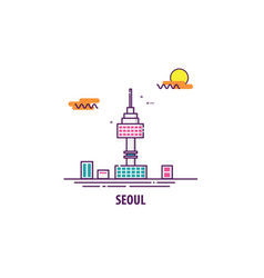 seoul tower in south korea vector image