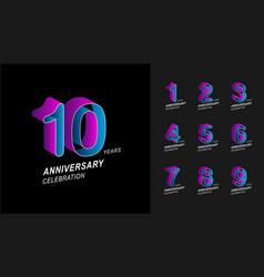 set anniversary logotype colorful anniversary vector image