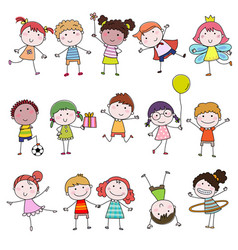 Set cute happy cartoon doodle kids hand-drawn vector