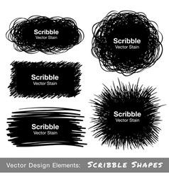 Set hand drawn scribble shapes design elements vector