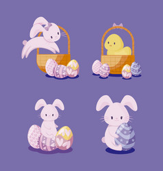 set of cute rabbits and chicken of easter vector image