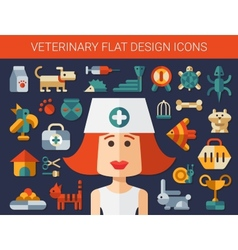 Set of flat design veterinary and pet icons vector image
