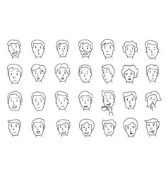 Set of peoples faces different emotions painted vector