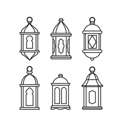 set traditional vintage arab lanterns isolated vector image
