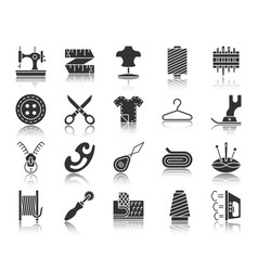sewing black silhouette icons set vector image