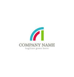 Shape curve colored company logo vector