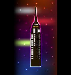 Skyscraper in luminous frame on blue background vector