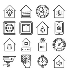 smart home devices and interface icons set vector image