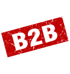 Square grunge red b2b stamp vector