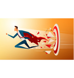 super businessman running and breaking target vector image