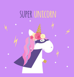 super unicorn background vector image